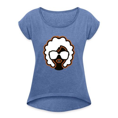 Vintage Summer Girl - Frauen T-Shirt mit gerollten Ärmeln