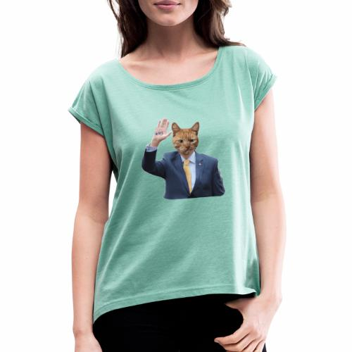 RTE ginger cat - Naisten T-paita, jossa rullatut hihat