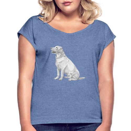 labrador Retriever Yellow - Ink - Dame T-shirt med rulleærmer