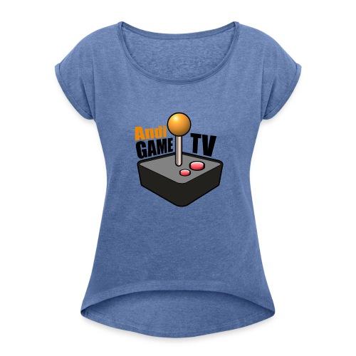 Andi GAME TV (Black) - Frauen T-Shirt mit gerollten Ärmeln