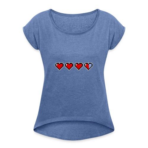 pixel hearts - Maglietta da donna con risvolti