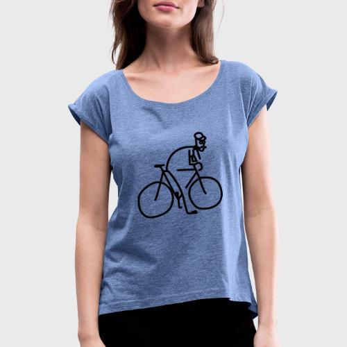 Vélo et cycliste à moustaches - T-shirt à manches retroussées Femme
