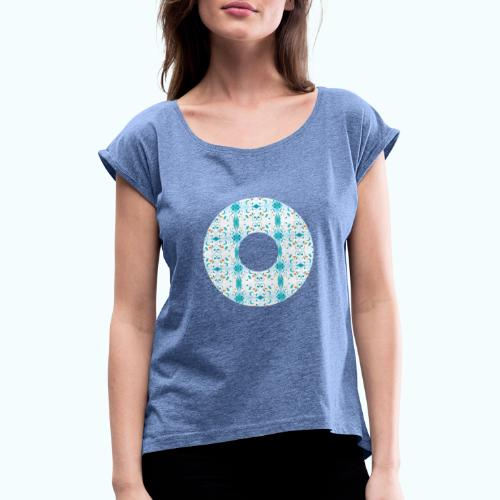 Hippie flowers donut - Women's T-Shirt with rolled up sleeves