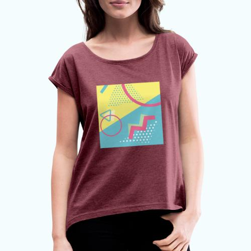 Pastel turquoise geometry - Women's T-Shirt with rolled up sleeves