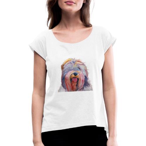 schapendoes - Dame T-shirt med rulleærmer