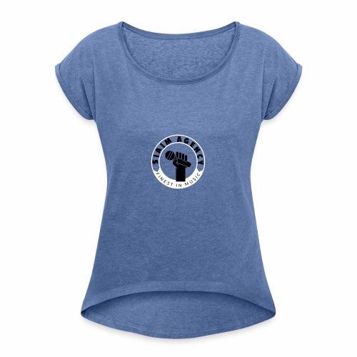 SamAgencyLogoBW - Frauen T-Shirt mit gerollten Ärmeln