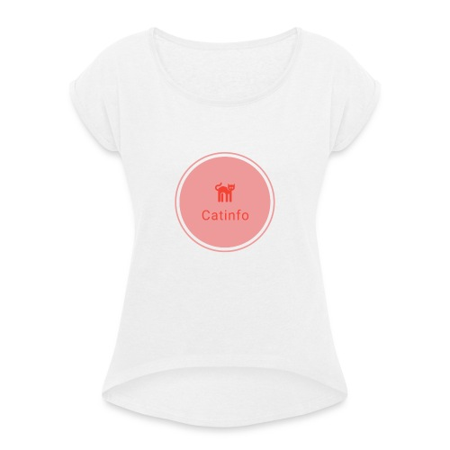 logo transparent - Naisten T-paita, jossa rullatut hihat