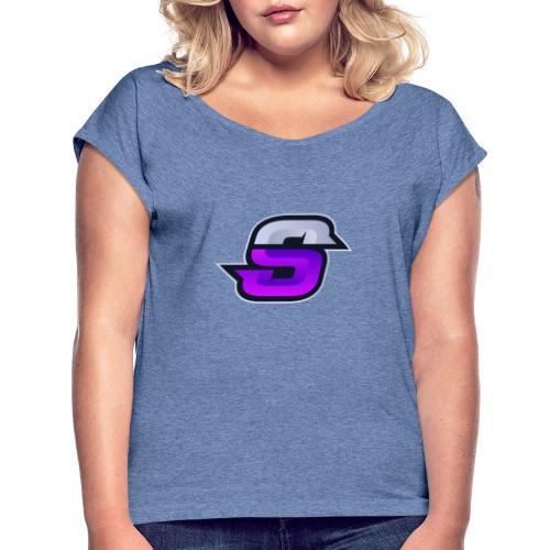 S navey 2 violet - T-shirt à manches retroussées Femme