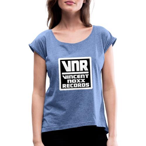 NOXX WHITE REC vnr invertiert Kopie - Frauen T-Shirt mit gerollten Ärmeln