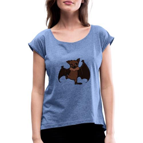 Malu - Der kleine Flughund - Frauen T-Shirt mit gerollten Ärmeln