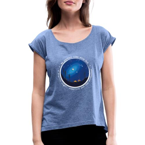 Sany O. Jesus Camping Star Wild Perfect Time God - Frauen T-Shirt mit gerollten Ärmeln