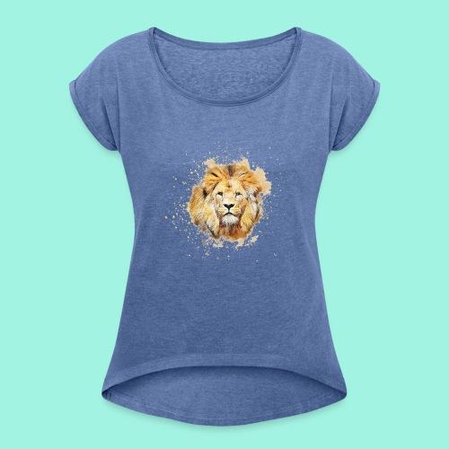 Der Löwe - Frauen T-Shirt mit gerollten Ärmeln