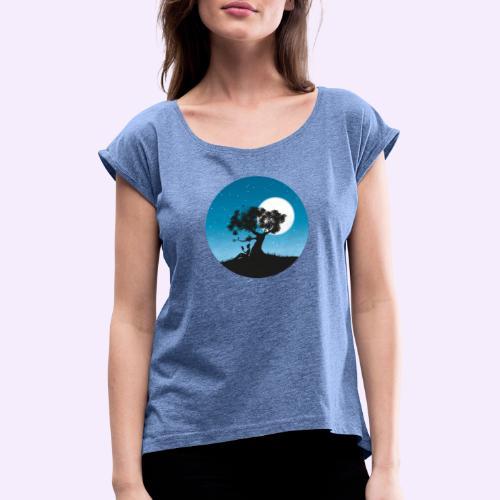 Ein Moment ausserhalb der Zeit - Frauen T-Shirt mit gerollten Ärmeln