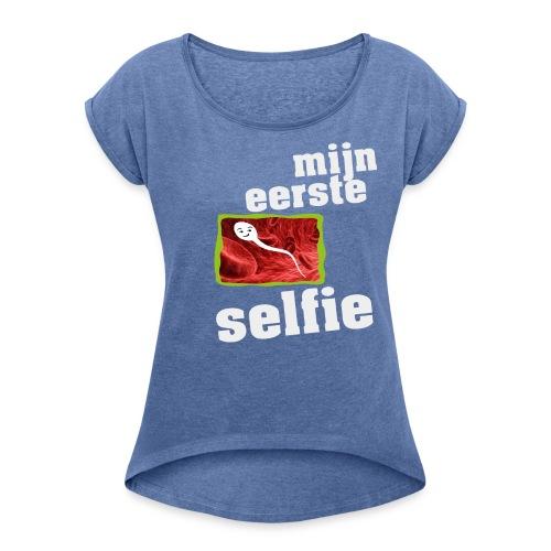 mijn eerste foto - Vrouwen T-shirt met opgerolde mouwen