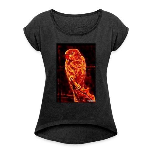 Bird in flames - Naisten T-paita, jossa rullatut hihat