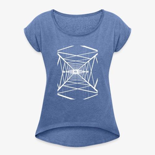 Hochmast V2 Weiß - Frauen T-Shirt mit gerollten Ärmeln