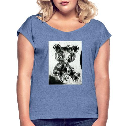 horror teddy - Vrouwen T-shirt met opgerolde mouwen