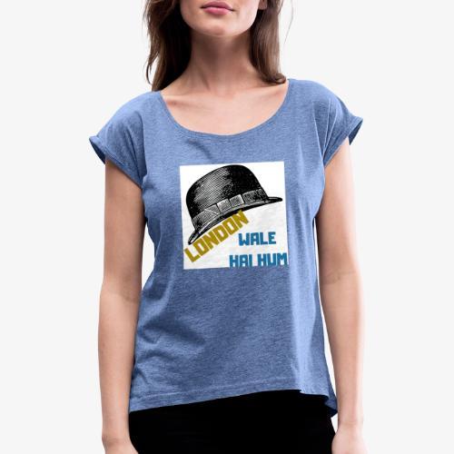 LONDON WALE - T-shirt med upprullade ärmar dam