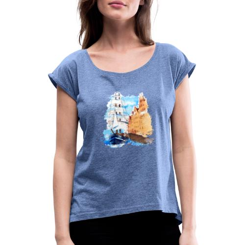Großsegler - Frauen T-Shirt mit gerollten Ärmeln