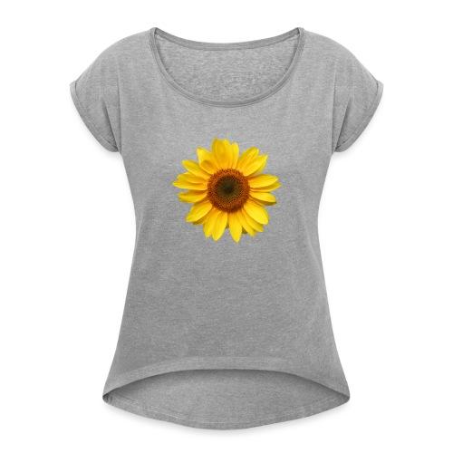 Du bist der Sonnenschein! - Frauen T-Shirt mit gerollten Ärmeln