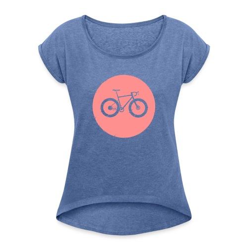 Bycicle Dot - Frauen T-Shirt mit gerollten Ärmeln