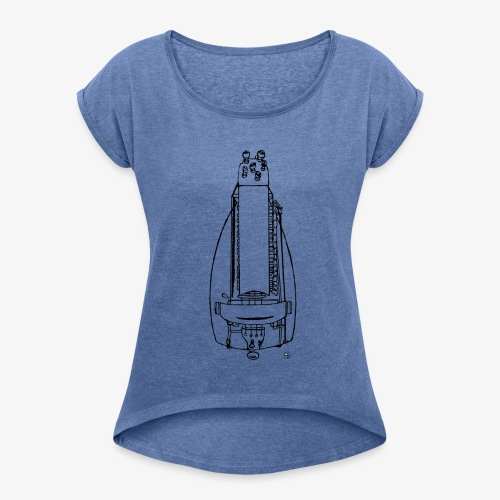Design Drehleier schwarz - Frauen T-Shirt mit gerollten Ärmeln