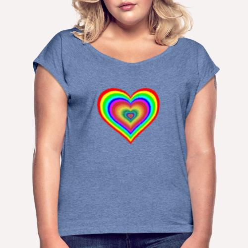 Heart In Hearts Print Design on T-shirt Apparel - Women's T-Shirt with rolled up sleeves