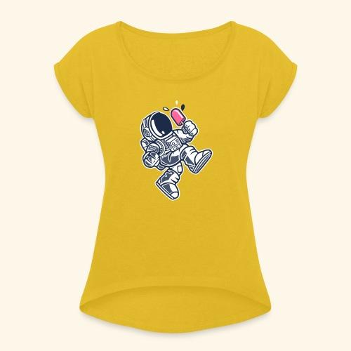 Eiscreme Sommer Astronaut - Frauen T-Shirt mit gerollten Ärmeln