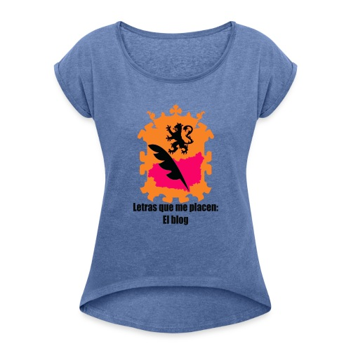 LQMP_escudo_naranja - Camiseta con manga enrollada mujer