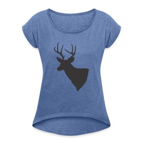 Silueta trofeo ciervo en negro. - Camiseta con manga enrollada mujer