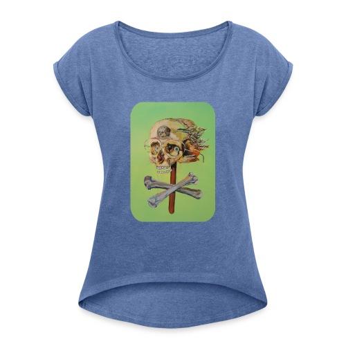 oil painting of skull and bones - Vrouwen T-shirt met opgerolde mouwen