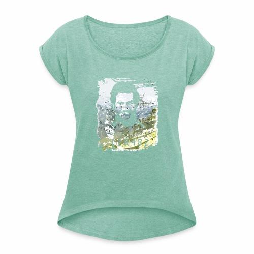 Pablo Escobar distressed - Frauen T-Shirt mit gerollten Ärmeln