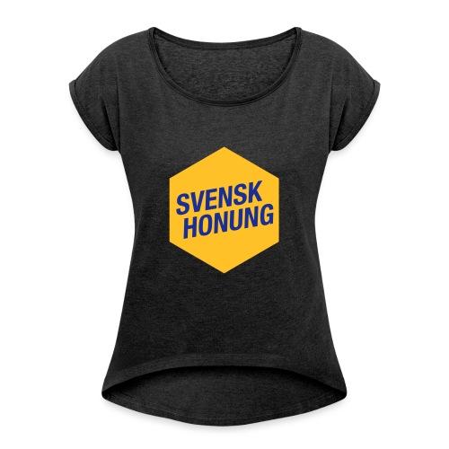 Svensk honung Hexagon Gul/Blå - T-shirt med upprullade ärmar dam