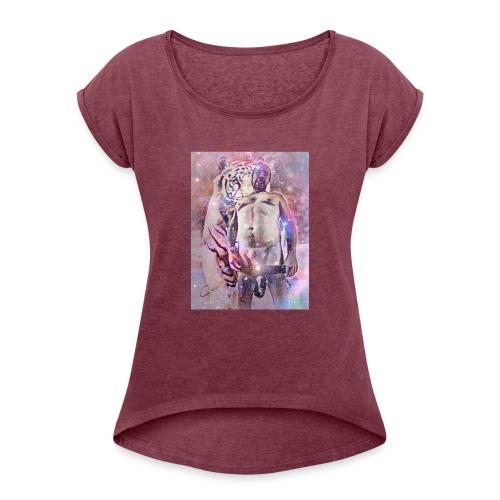 Lionking - Frauen T-Shirt mit gerollten Ärmeln