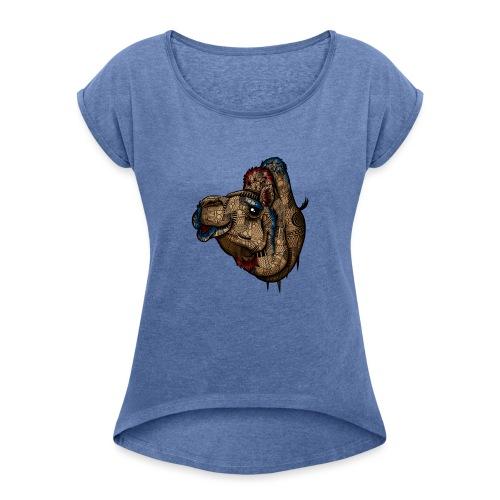 Kamel - T-skjorte med rulleermer for kvinner