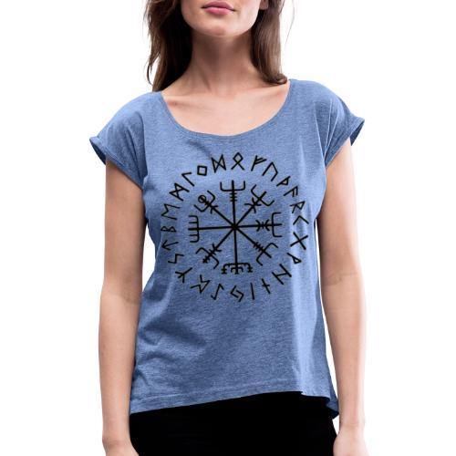 Vegvisir - Sort - Dame T-shirt med rulleærmer
