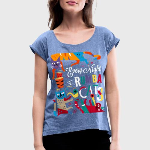 Chats Musique - Rumba salsa mambo - T-shirt à manches retroussées Femme