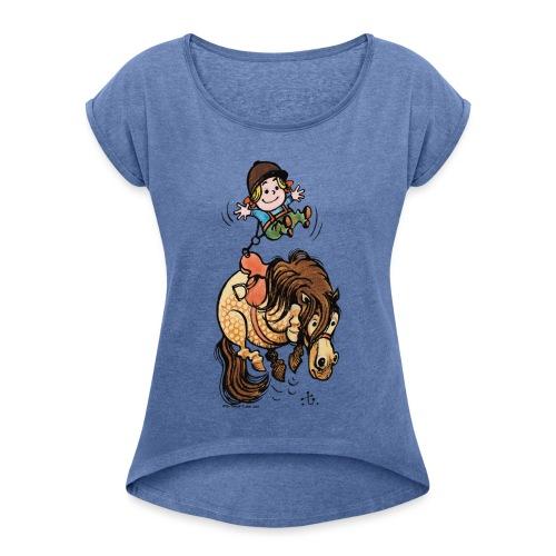 Thelwell Reiter Mit Gurt Und Buckelndes Pony - Frauen T-Shirt mit gerollten Ärmeln