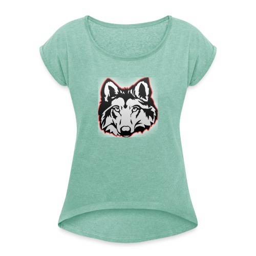 Wolfie (Red) - Women's T-Shirt with rolled up sleeves