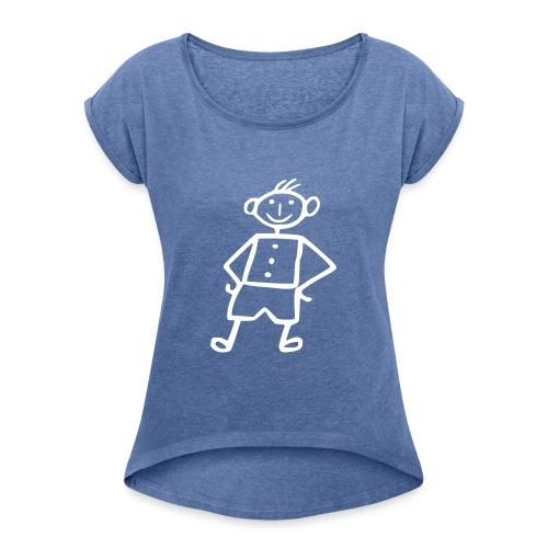 me-white - Frauen T-Shirt mit gerollten Ärmeln