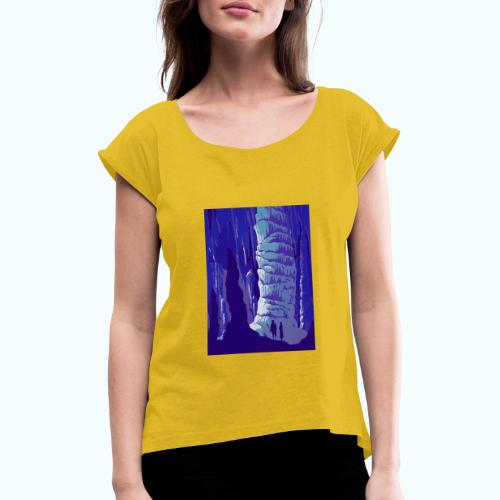 Fancy Grotto Vintage Travel Poster - Women's T-Shirt with rolled up sleeves
