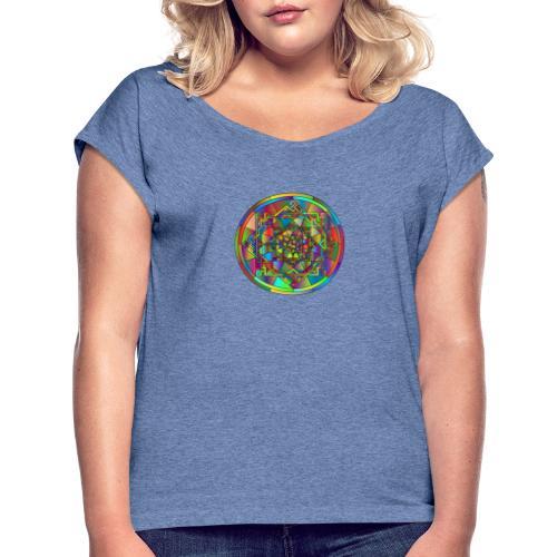mandala et géométrie sacrée - T-shirt à manches retroussées Femme