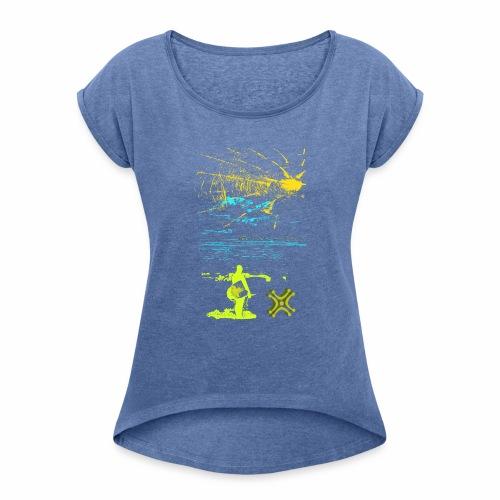Sol y Mar de Adiswebs - Camiseta con manga enrollada mujer