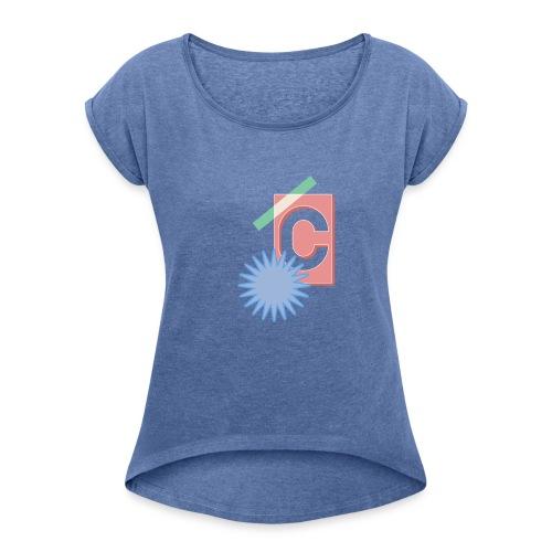 Monogram Letter C Graphic Design - Frauen T-Shirt mit gerollten Ärmeln