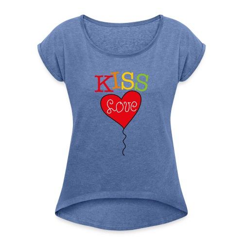 HEART LOVE - Vrouwen T-shirt met opgerolde mouwen