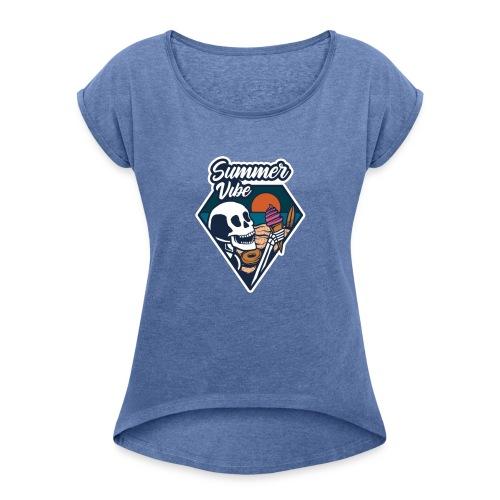 Summer Vibe - Frauen T-Shirt mit gerollten Ärmeln