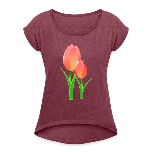 Belle fleur - T-shirt à manches retroussées Femme