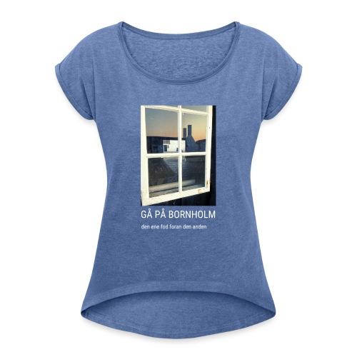 Gå på Bornholm - Dame T-shirt med rulleærmer
