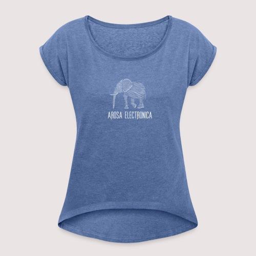 Elefant Weiss - Frauen T-Shirt mit gerollten Ärmeln