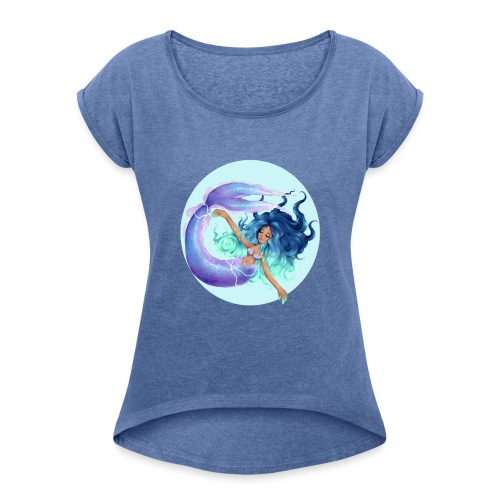 Blue Mermaid - Women's T-Shirt with rolled up sleeves
